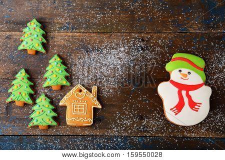 Christmas cookie. Seasonal holiday sweet food. Rustic