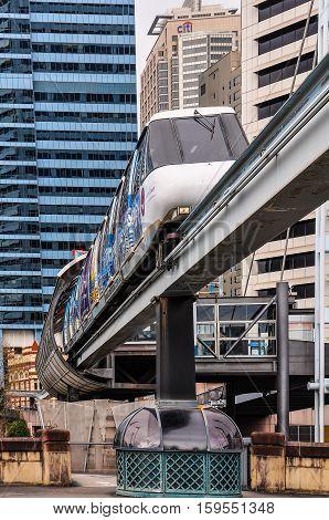 SYDNEY AUSTRALIA - AUGUST 29 2012: The futuristic sky train in Darling Harbour in Sydney Australia
