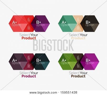Set of business hexagon layouts with text and options. Design elements of web design navigation layout, infographics or corporate presentation