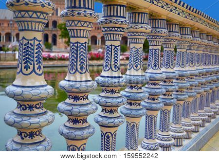 Seville Sevilla Plaza de Espana ceramic balustrade Andalusia Spain square exterior image shot from public floor