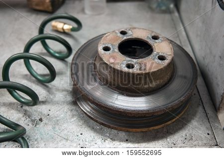 Used brakes disk. Old car part need repair.