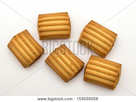 fresh sweet biscuits isolated on white background