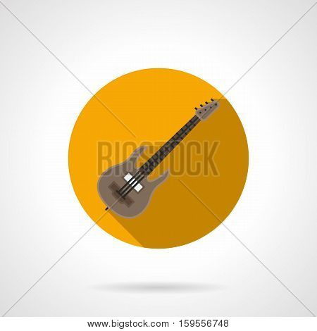 Symbol of electric or bass guitar. Music business and lessons or course for string instruments. Round yellow flat design vector icon.