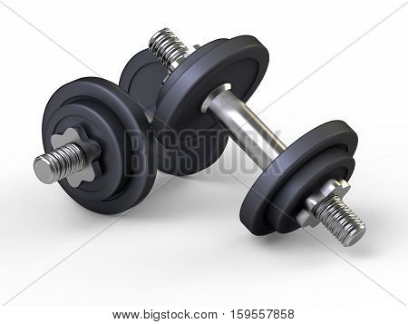 Weights dumbbells on white background. Good for Gym, Fitness, Sports, Health and Wellness concept.