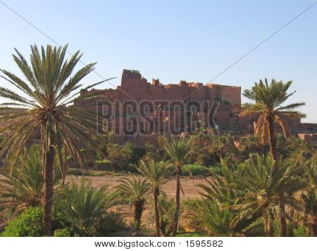Moroccan Ksar Fortress With Palm Trees, Ouarzazate, Morocco