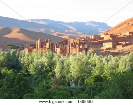 Moutain With Sand Dunes And A Fortress In An Oasis On The Foreground, Gorges Dades Valley, Morocco