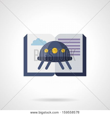 Abstract image of flying saucer on open book. Literature about UFO and space exploration. Science fiction genre symbol. Web library, e-bookstore. Flat color style vector icon.