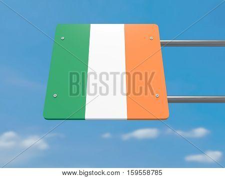 Ireland Irish Flag Road Sign Against A Cloudy Sky 3d illustration