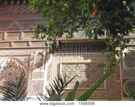 Oriental Architecture With Azulejos And Painted Stuc On A Patio With Orange Trees, Bahia Palace, Mar