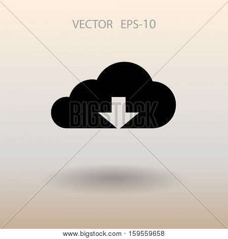 Flat icon of download cloud. vector illustration