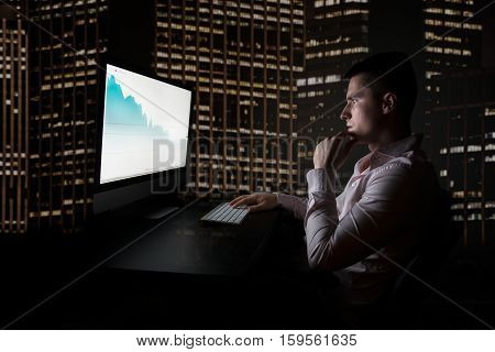 Stock trader checking oil quotes on stock exchange market during night trading in the office in New York City Wall Street.