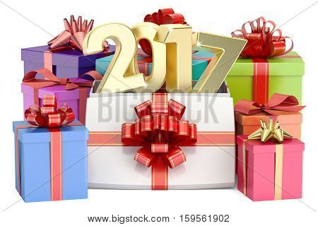Gift Boxes with 2017 New Year and Christmas concept. 3D rendering isolated on white background