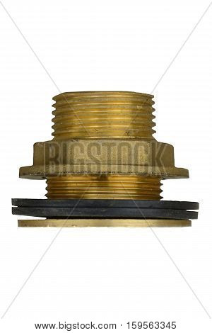 Brass Fittings for Water and Gas tubes with rubber gasket isolated on white background