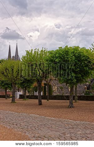 Angers, France - May 7, 2012: Inner garden of Chateau Angers Maine et Loire department of Pays de la Loire region Loire Valley in France.