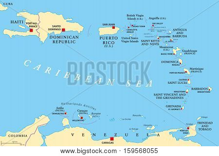 Lesser Antilles political map. The Caribbean with Haiti, the Dominican Republic and Puerto Rico in the Caribbean Sea. With capitals and national borders. English labeling. Illustration. Vector.