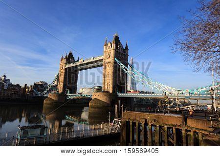 LONDON UNITED KINGDOM - 23 JANUARY 2016: Tower Bridge and river Thames on Sunny Day London United Kingdom