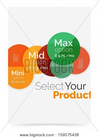 Business layout - select your product with sample options. A4 size geometric template. Brochure - flyer, presentation or web design background