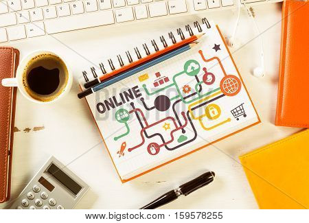 Business workplace with devices and stationary stuff presenting still life concept