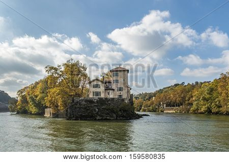 Island Ile Barbe In The Saone, In The 9Th Arrondissement Of Lyon.