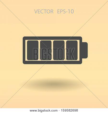 Flat battery full icon, vector illustration