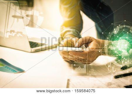 Double Exposure Of Businesswomen Using Smart Phone And Connection Network And Business Concept, Copy