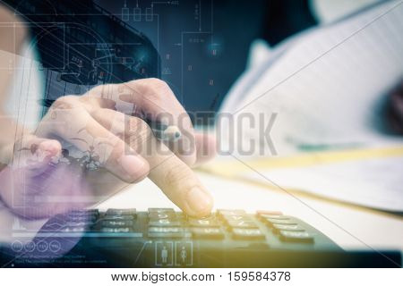 Double exposure of recheck document or planing data for business market target and about accounting staff recheck data before approve document business concept and copy space mock up.