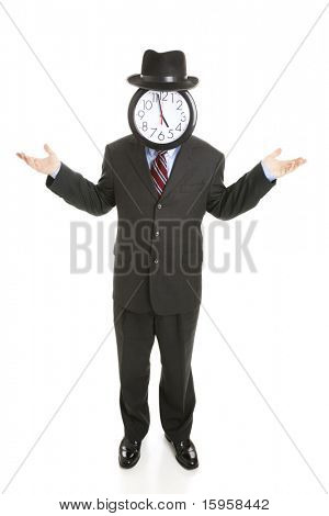 Faceless businessman with a clock for a face, shrugging his shoulders.  Full body isolated on white.