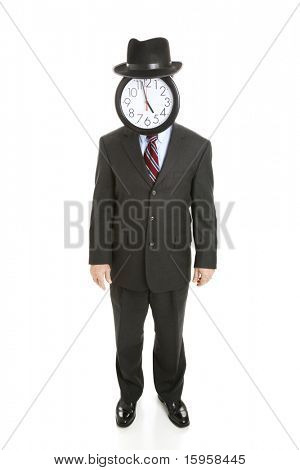 Full body isolated view of a faceless businessman with a clock for a face.