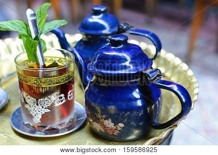 Mint tea set in Khan El-Khalili, Cairo - Egypt