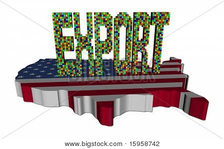 Export text made of containers on USA map flag illustration