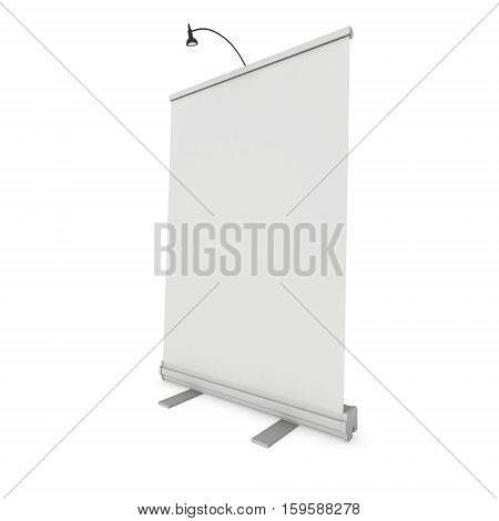 Blank Roll Up Banner Stand. Trade show booth white and blank. 3d render isolated on white background. High Resolution Template for your design.