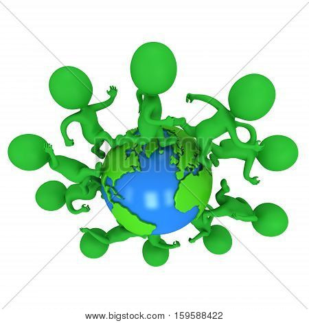 Small green eco people running around the world. Travel and international concept. 3d render illustration isolated on white.