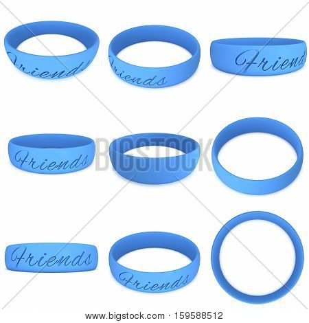 Blue rubber plastic stretch friends bracelet set. 3d render isolated on white background.