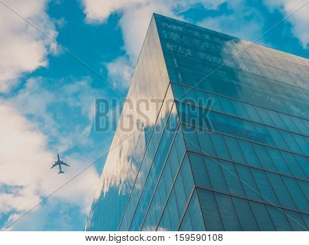 Airplan and Skyscraper Buildings, Sky View in Big City