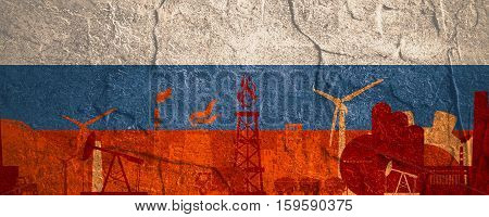 Energy and Power icons set. Header banner with Russia flag. Sustainable energy generation and heavy industry. Concrete textured