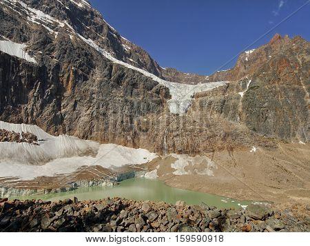 Angel glacier and Green lake. Canadian Rockies