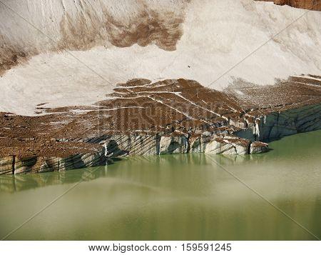 Glacier and lake. Canadian Rockies. Alberta, Canada