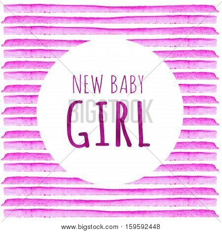 Baby Shower Invitation Card with pink stripes.  New baby girl. Baby Shower Greeting Card. Watercolor creative greeting cards template.