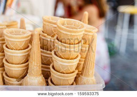 Clean waffle cones for ice creams in rows