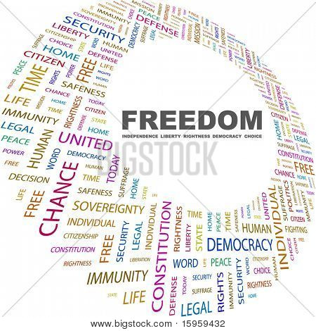 FREEDOM. Word collage on white background. Vector illustration. Illustration with different association terms.