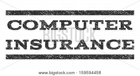 Computer Insurance watermark stamp. Text caption between horizontal parallel lines with grunge design style. Rubber seal gray stamp with unclean texture. Vector ink imprint on a white background.