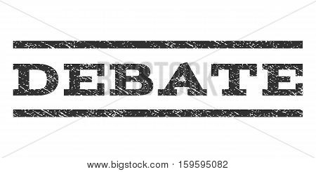 Debate watermark stamp. Text tag between horizontal parallel lines with grunge design style. Rubber seal gray stamp with dust texture. Vector ink imprint on a white background.