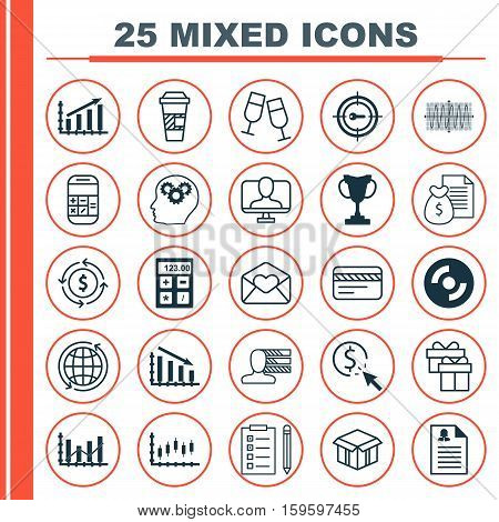 Set Of 25 Universal Editable Icons. Can Be Used For Web, Mobile And App Design. Includes Elements Such As Keyword Marketing, Online Identity, Sinus Graph And More.