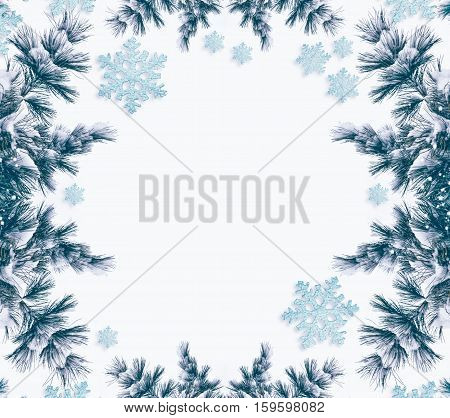 Snow covered trees. frame. Festive Christmas composition. Card.