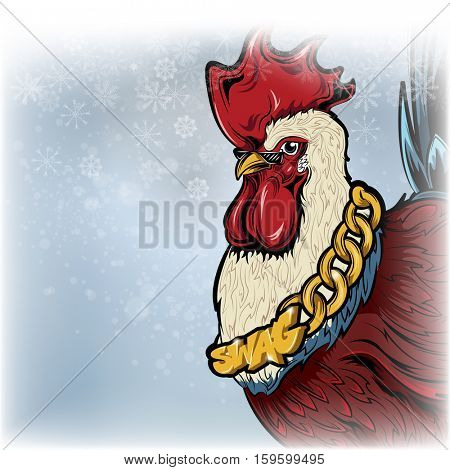 year of the rooster. place for your text and colorful rooster. Vector illustration of rooster, symbol of 2017 on the Chinese calendar.