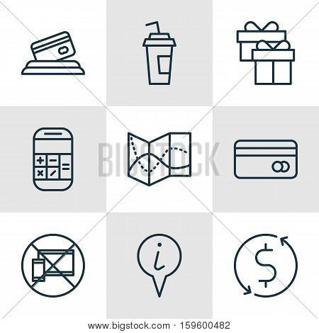 Set Of 9 Transportation Icons. Can Be Used For Web, Mobile, UI And Infographic Design. Includes Elements Such As Payment, Card, No And More.