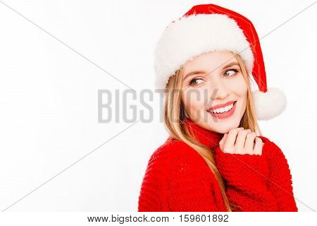Happy Santa Girl Dreaming Isolated On White Background