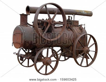 Mobile steam engine isolated on white background.