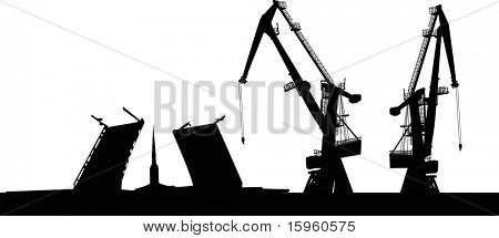 illustration with dock silhouette isolated on white background