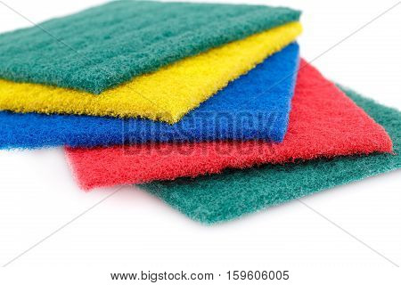 Colorful pan scourers isolated on white background.
